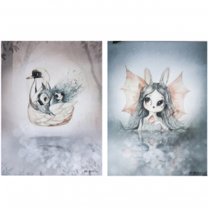 2-pack print MISS BIANCA/SWAN BOAT 18 x 24 cm, Mrs. Mighetto